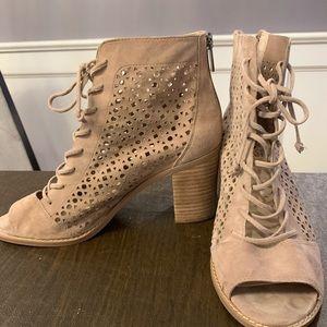 Vince camuto peep toe booties with block heel